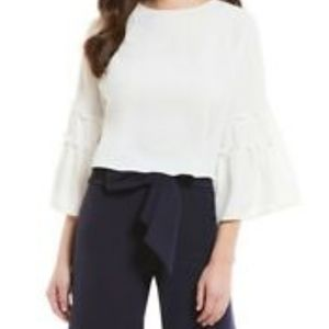 Antonio Melani Bay 100%silk Ruffle Sleeve Blouse